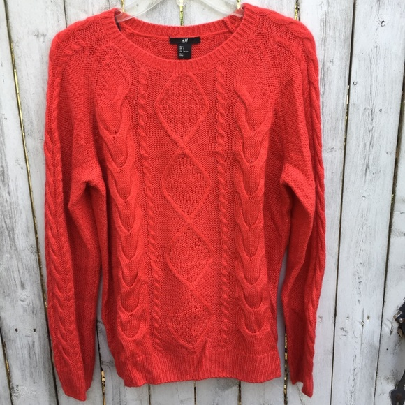 5be755dc08 H&M Sweaters | H M Red Cable Knit Sweater Large | Poshmark